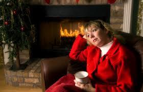 sad christmas woman