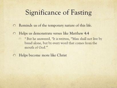 significance of fasting